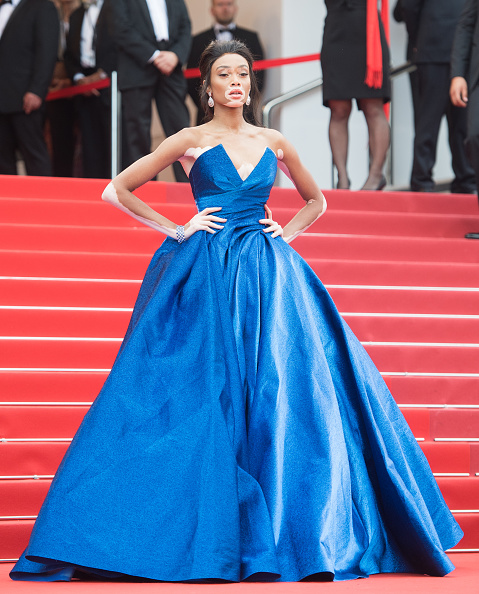 Winnie Harlow in a blue dress at the premier of Loveless at the Cannes Film Festival