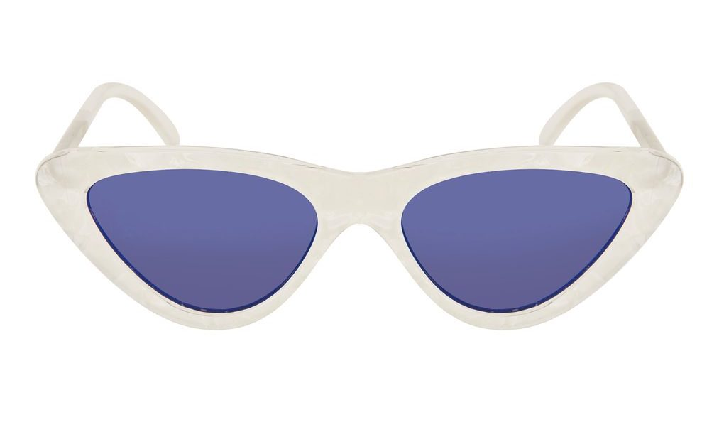 Blue sunglasses with white frame
