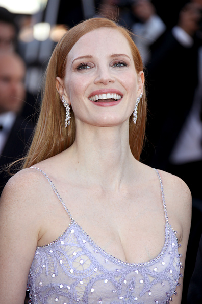 Jessica Chastain on the red carpet at Cannes