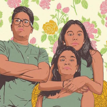 This mural celebrates the strength and resilience of immigrant mothers