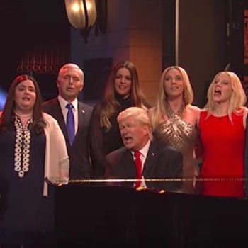 """Saturday Night Live"" started with a Trump singalong for the whole family"