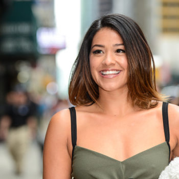 Gina Rodriguez was a burnished goddess in a super casual tee and glittering foil
