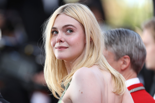 Elle Fanning's palest green dress is going to get stolen by a spring goddess if she isn't careful