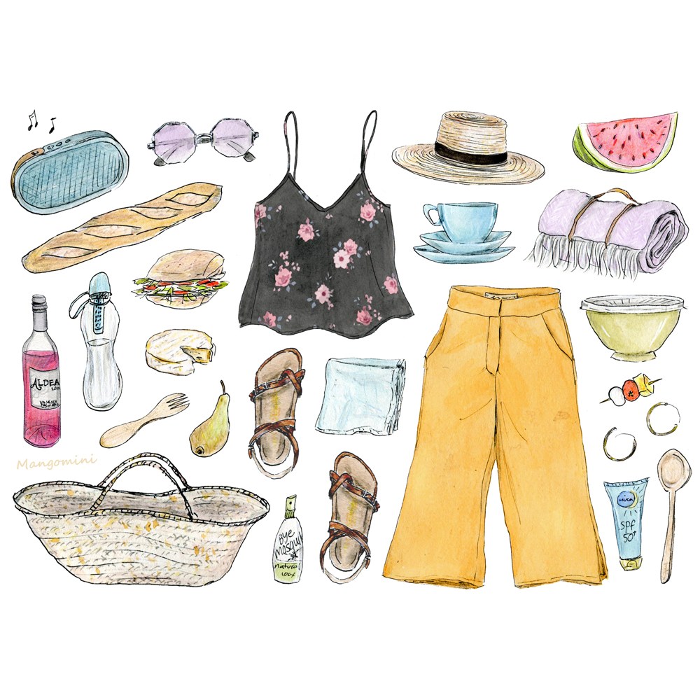 Everything you need for the best picnic day ever, illustrated