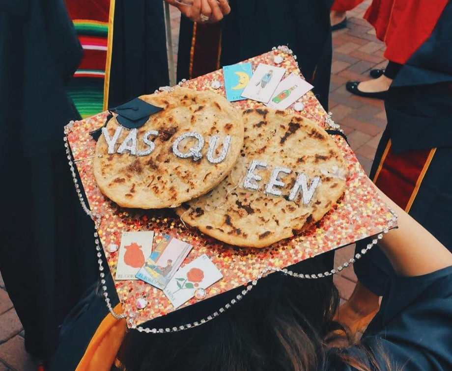 There were real pupusas on this Latinx student's graduation cap