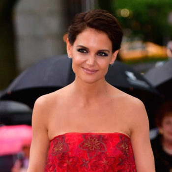 Katie Holmes wore a fire-red ballgown that would be perfect for prom