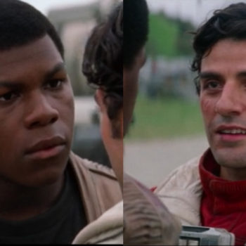 """Hey everyone, we have to talk about the fact that Finn is low key wearing Poe's *exact outfit* for """"Last Jedi"""""""