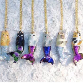 "These ""purrmaid"" necklaces combine our love of cats and mermaids, and we need one now"