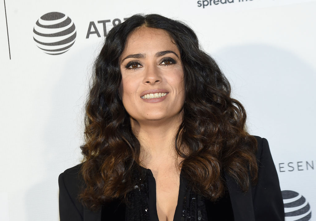 Salma Hayek couldn't resist spending her 50th birthday playing a prank on set