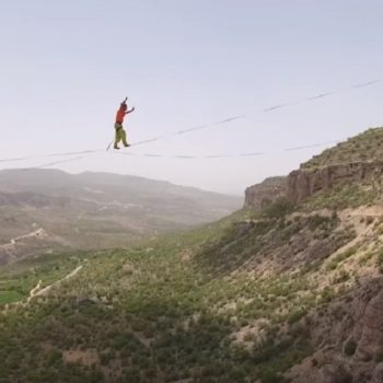 This guy broke the world's longest slacklining record, and the footage is super intense