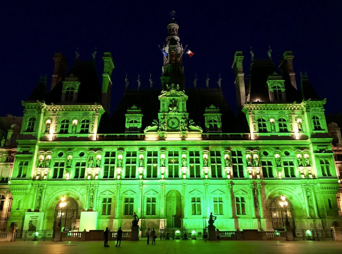 Cities all over the world glowed green in support of The Paris Agreement