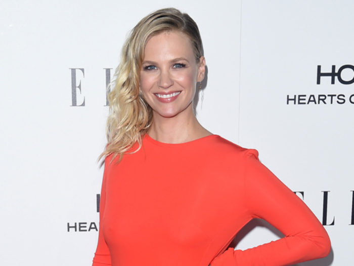 January Jones' jacket looks like the grown-up version of a Girl Scout vest