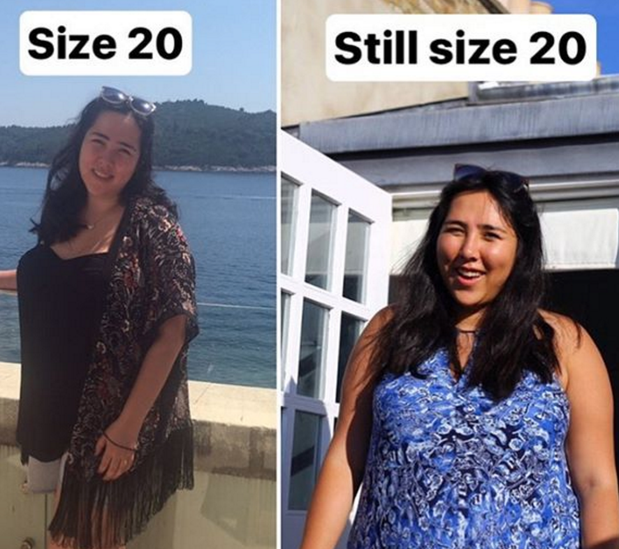 This size 20 woman still fits into her old size 14 dress, proving numbers are BS and we should love our bodies as they are