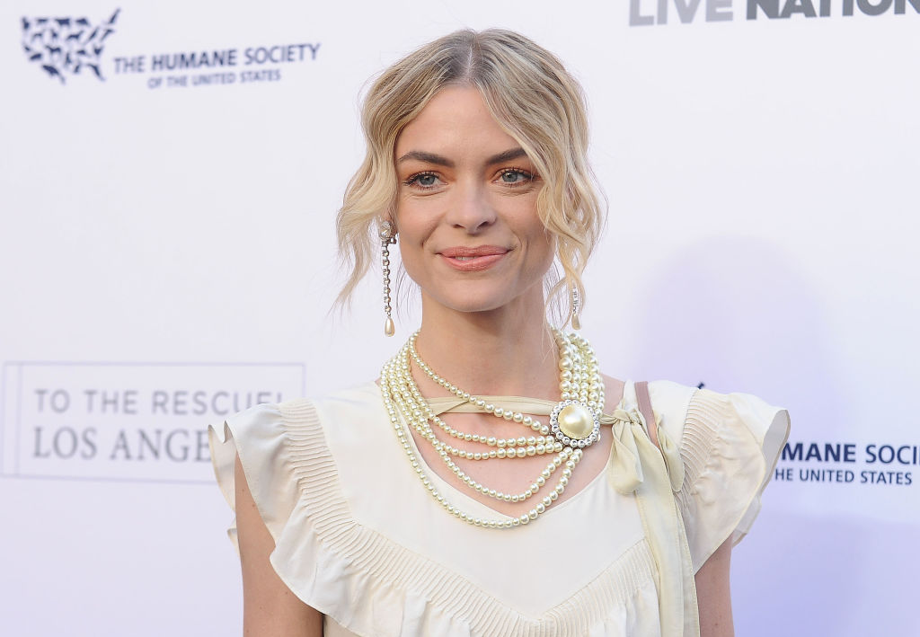 Jaime King's pink, patterned, sparkly gown looks like it was made for a high fashion Barbie