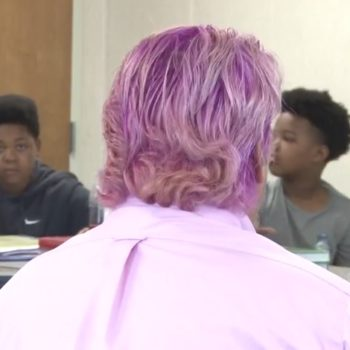 This teacher just dyed his hair hot pink for the most amazing reason