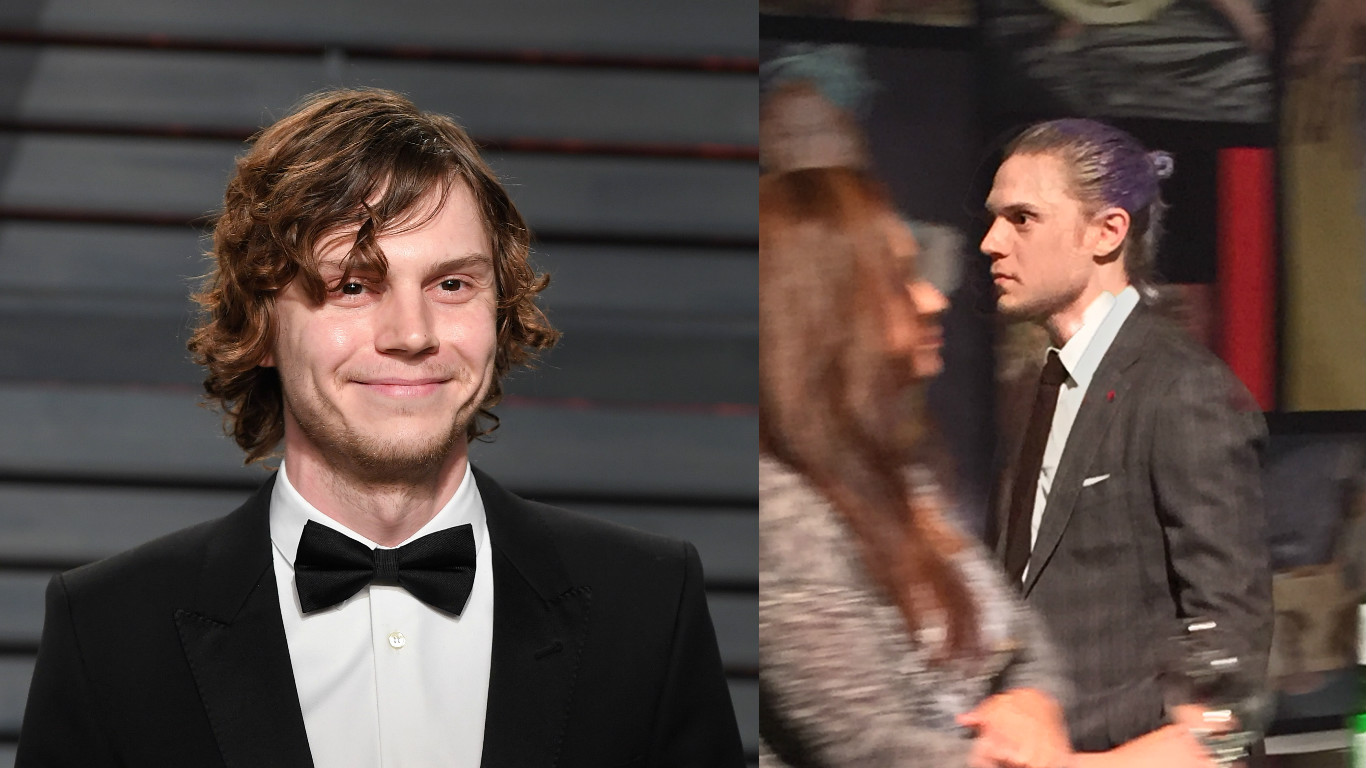 "Evan Peters' blue hair for ""American Horror Story"" Season 7 was all *his* idea"