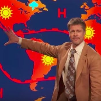Yes, that is Brad Pitt playing a bad weatherman in a Comedy Central sketch