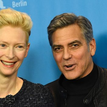 Tilda Swinton has a cheeky message for George Clooney about raising twins