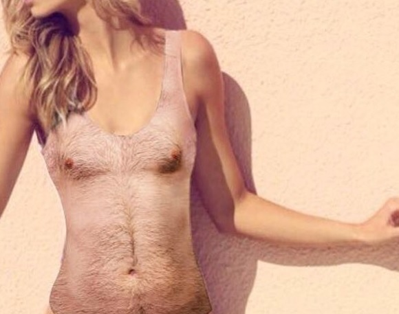 This swimsuit makes it look like you have a hairy chest, and the internet is obsessed