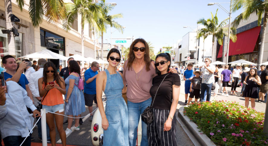 Kendall Jenner, Caitlyn Jenner and Kylie Jenner pose for a photo as Caitly Jenner displays her Austin-Healey Sprite at the Rodeo Drive Concours d'Elegance on June 18, 2017