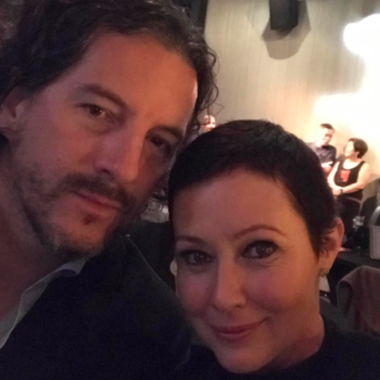 Shannen Doherty says she's twinning with her husband now, but we love her short, curly hair