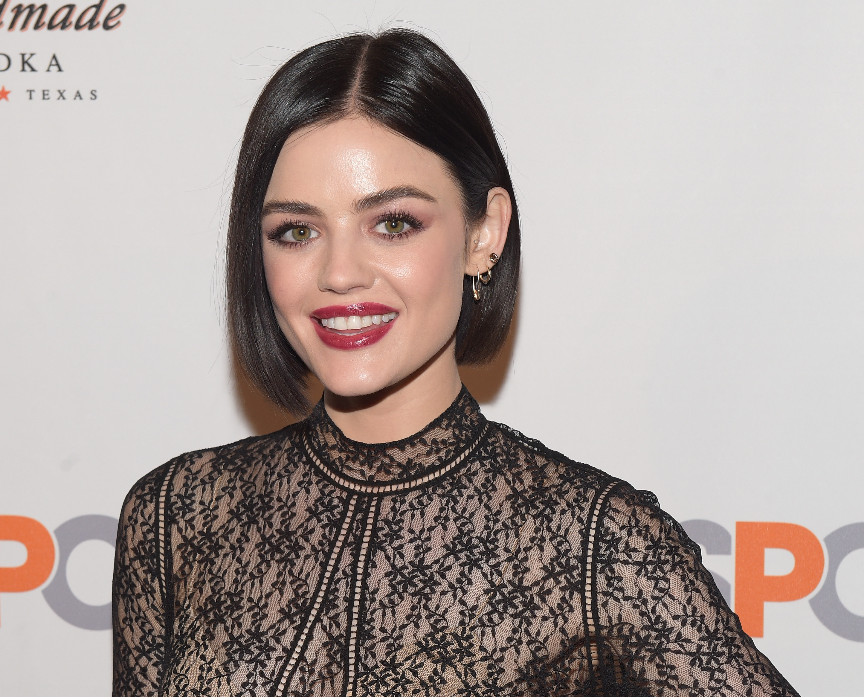 Lucy Hale used one of those insane bubble masks, and she looked like a beautiful alien