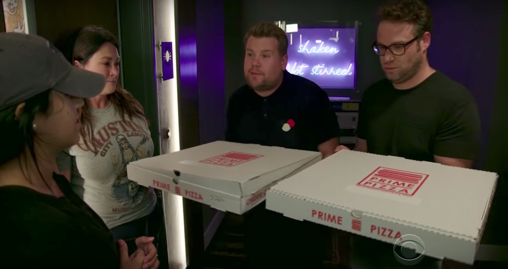 Would you accept a mystery pizza from James Corden and Seth Rogen?