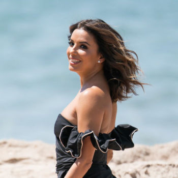 Here's where to buy Eva Longoria's plunging white one-piece swimsuit