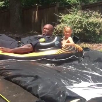 "Someone called the cops about an ""illegal"" slip-and-slide, and cops promptly played on slip-and-slide"