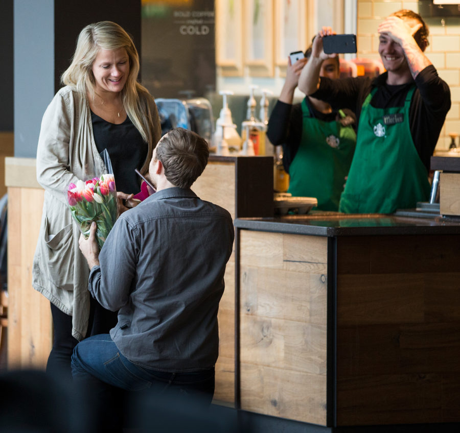This couple's airport Starbucks proposal is straight out of a rom-com