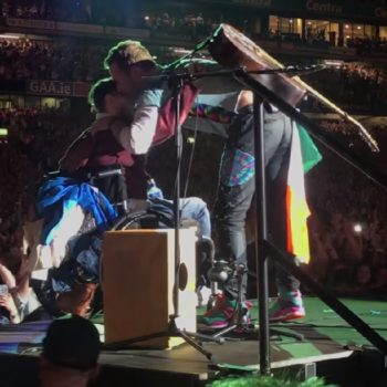 A Coldplay fan crowd-surfed in a wheelchair to the stage, and it paid off big time