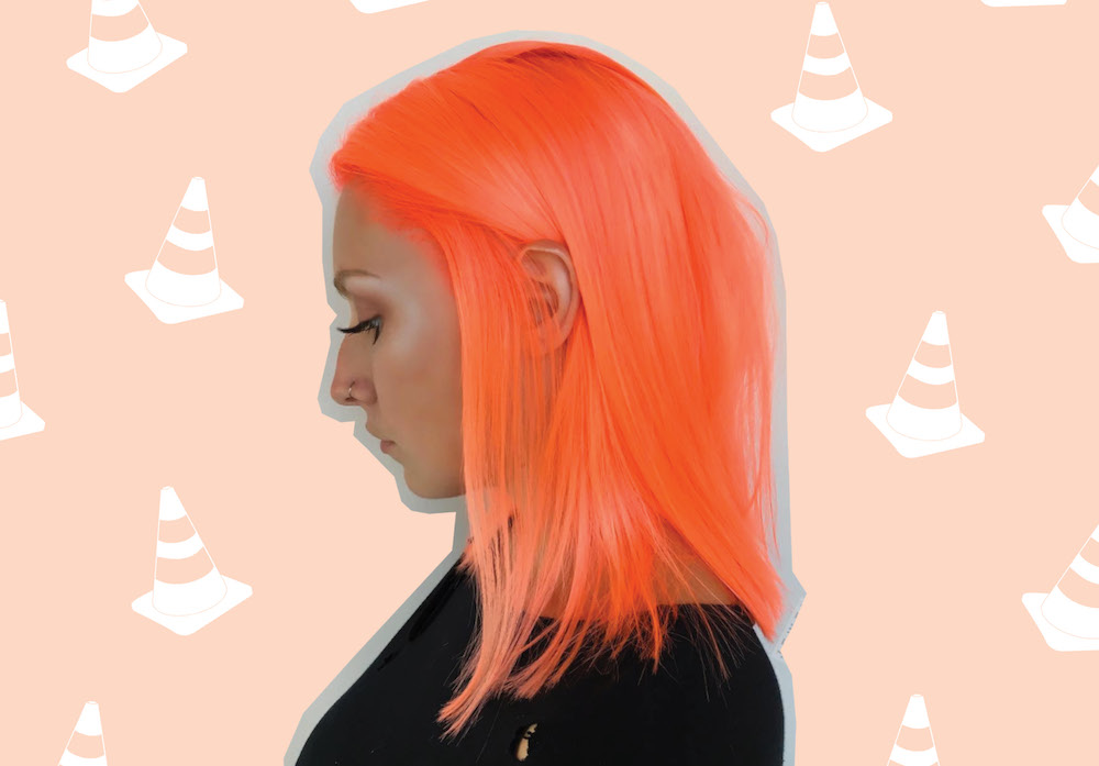 "This woman transformed her virgin hair from blonde to ""safety cone orange"""
