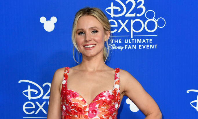 Kristen Bell's bustier and high-waisted skirt are a match made in floral heaven