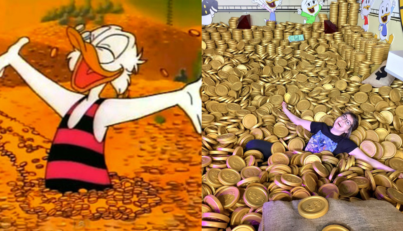 I jumped into Scrooge McDuck's Money Bin — and it was great, but yes, the coins kinda hurt