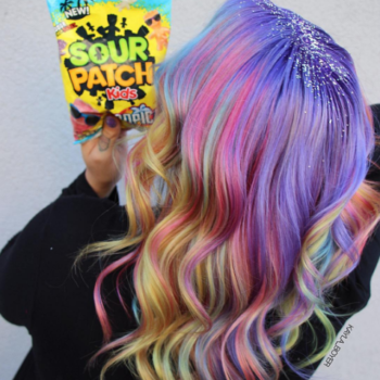 This Sour Patch Kids-inspired hair color puts a fun twist on the rainbow hair trend