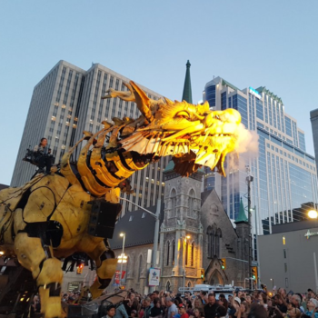 OMG, a giant mechanical spider and dragon are battling in the streets of Canada's capital
