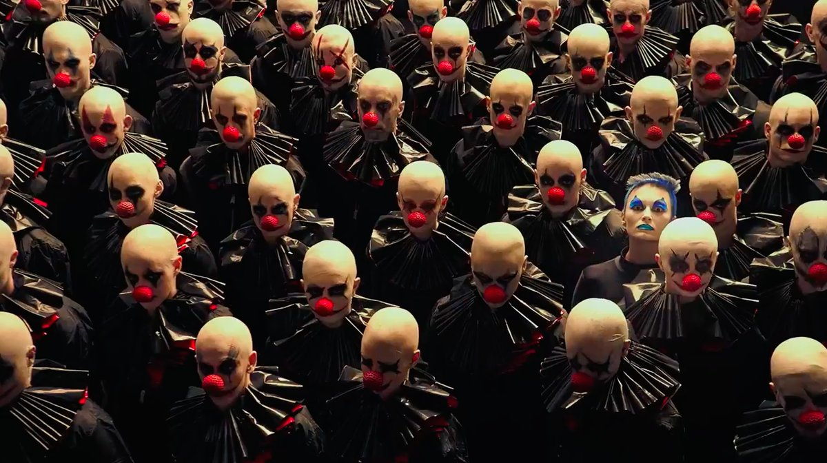 "The first character posters for ""American Horror Story: Cult"" are here, and there are so many creepy, lurking clowns"