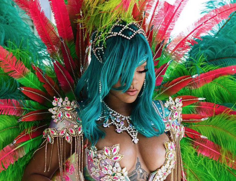 Rihanna skips clothes, opts for jewels and feathers in Barbados