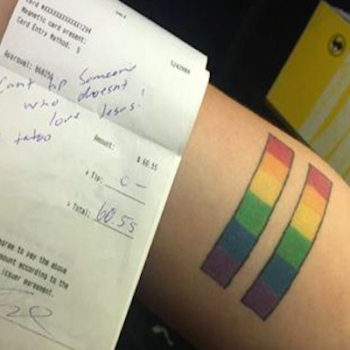 A couple left an angry note instead of a tip for a waitress — all because she has a rainbow tattoo