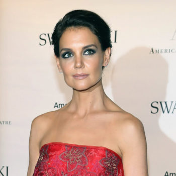 Katie Holmes' tousled waves and plum lip look is THE beauty vibe for this fall