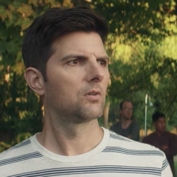 Netflix's latest movie stars Adam Scott and his stepson, the Antichrist