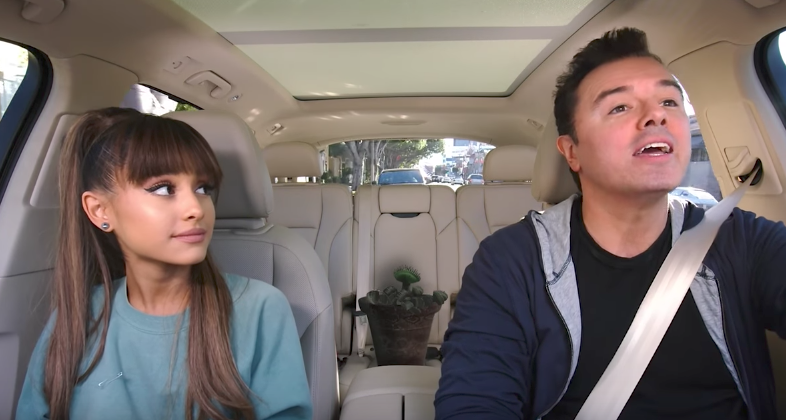 "Ariana Grande and Seth MacFarlane doing ""Carpool Karaoke"" is completely exquisite"
