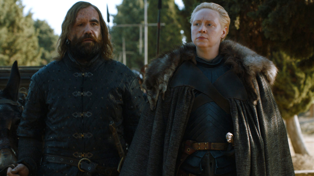 """Brienne and the Hound made up like it was no big deal on """"Game of Thrones"""" and bonded over their lil assassin, Arya"""