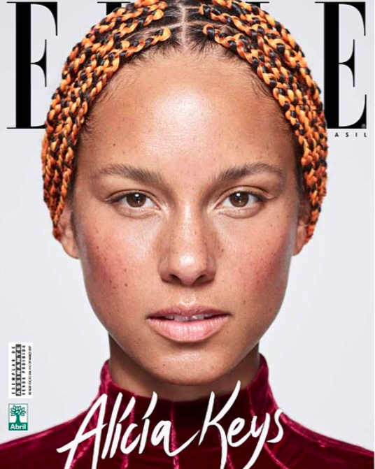"Alicia Keys has only these two beauty products on her face on the cover of ""Elle Brazil"""
