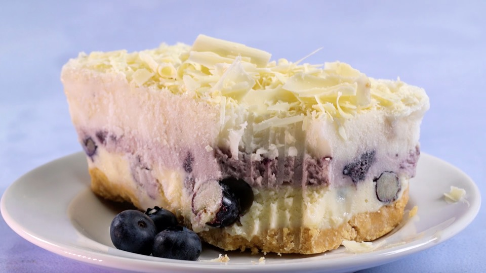 "This white chocolate blueberry lasagna fulfills our dream of eating ""pasta"" for dessert"