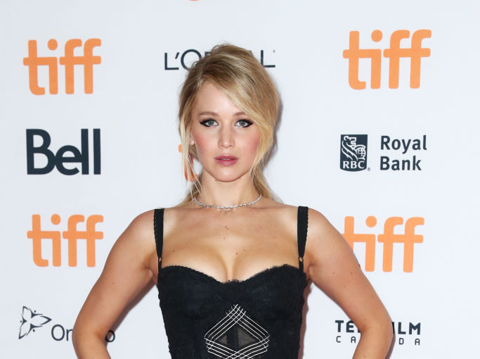 Jennifer Lawrence took to the red carpet in a goth, lace-up corset