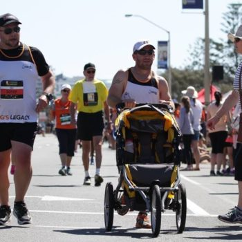 This dad pushed an empty stroller during a race in honor of his stillborn son
