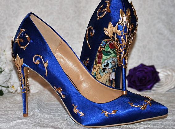 "These ""Beauty and the Beast"" bridal heels will make you feel like Belle on your wedding day"