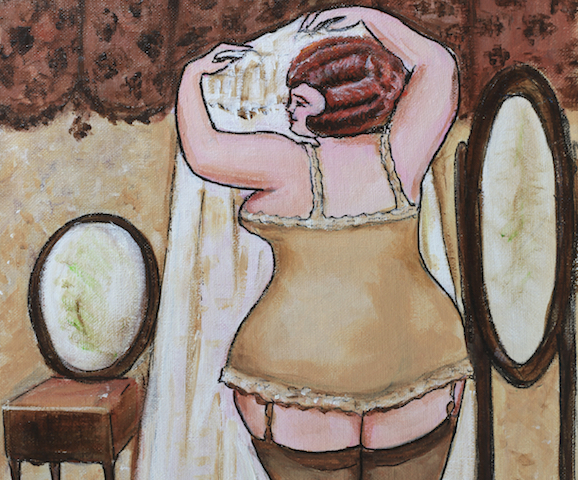 Illustration painting of a curvaceous woman in a vintage style boudoir.