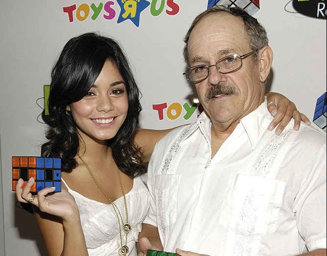 Vanessa Hudgens and Greg Hudgens celebrates Father's Day with the Launch of Techno Source's Rubik's Revolution at Toys ''R'' Us Times Square (Photo by Gary Gershoff/WireImage for Ruth C. Schwartz and Co., Inc.)